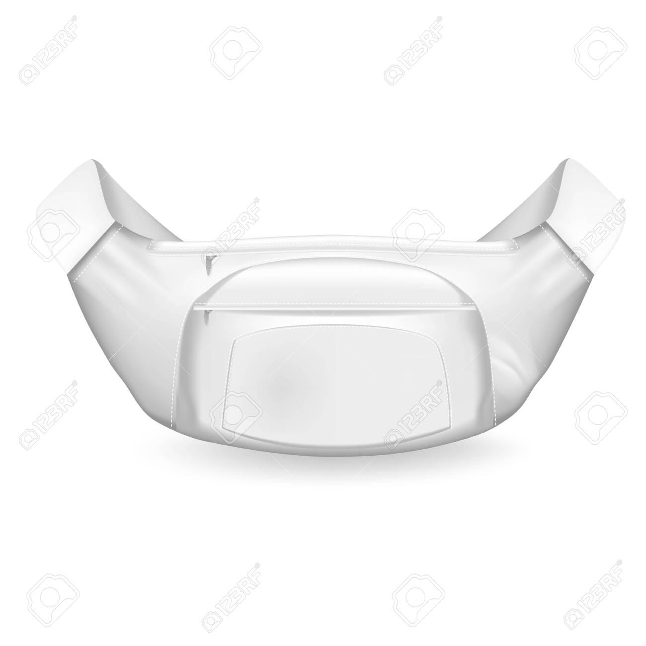Waist bag. Modern mockup white waist bag with elegant protruding zip pocket built in center fashionable sports design sports travel close ups realistic graphics. Vector mockup style. - 146696972