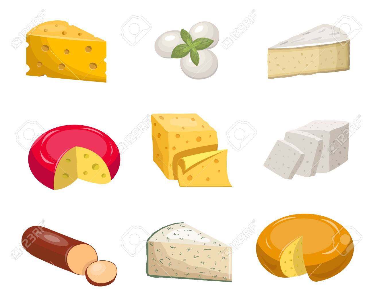 Cheese set. Yellow piece cheddar oval white mozzarella gouda slice blue mold roquefort smoked sausage chees slice vegetarian toffu feta, goat milk camembert. Fragrant color vector clipart. - 147106400