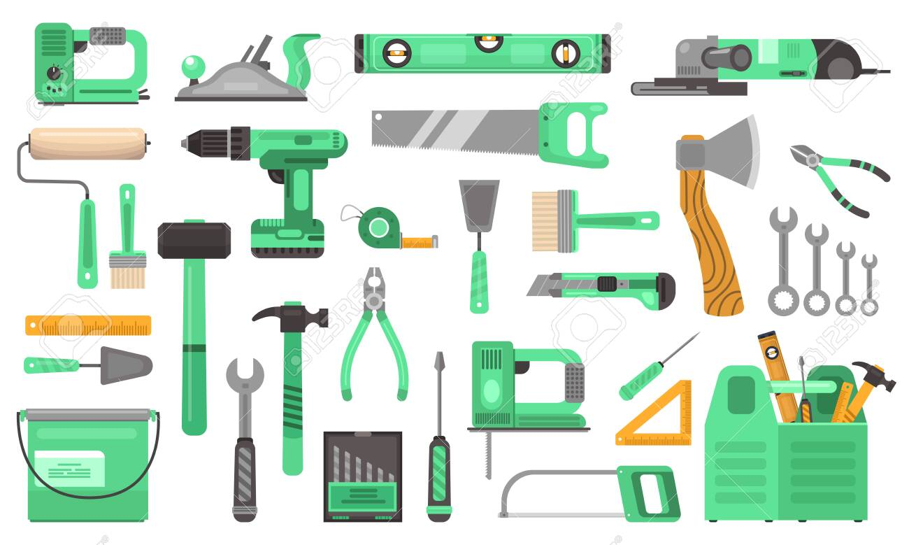 Construction repair tools set. Branded elite toolkit drill green drill angle grinder hand saw wrenches hammer ruler level tool box roller putty knife screwdriver brush dril . Repair vector flat. - 147107408