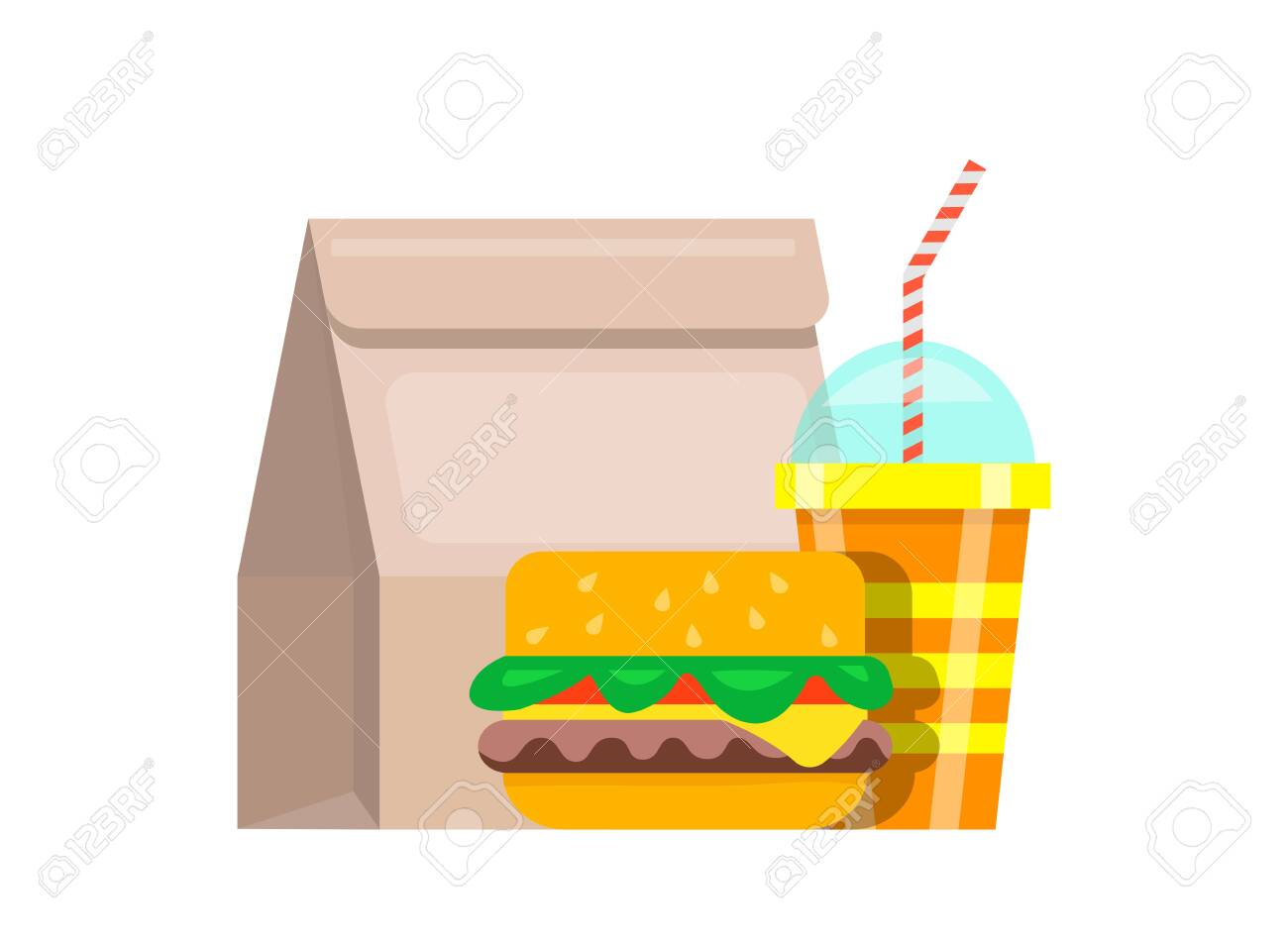 Paper bag lunch fast food. Bag food juicy fresh hamburger striped glass soda with straws nutritious fast food restaurant quick lunch snack. Appetizing vector clipart. - 147108373