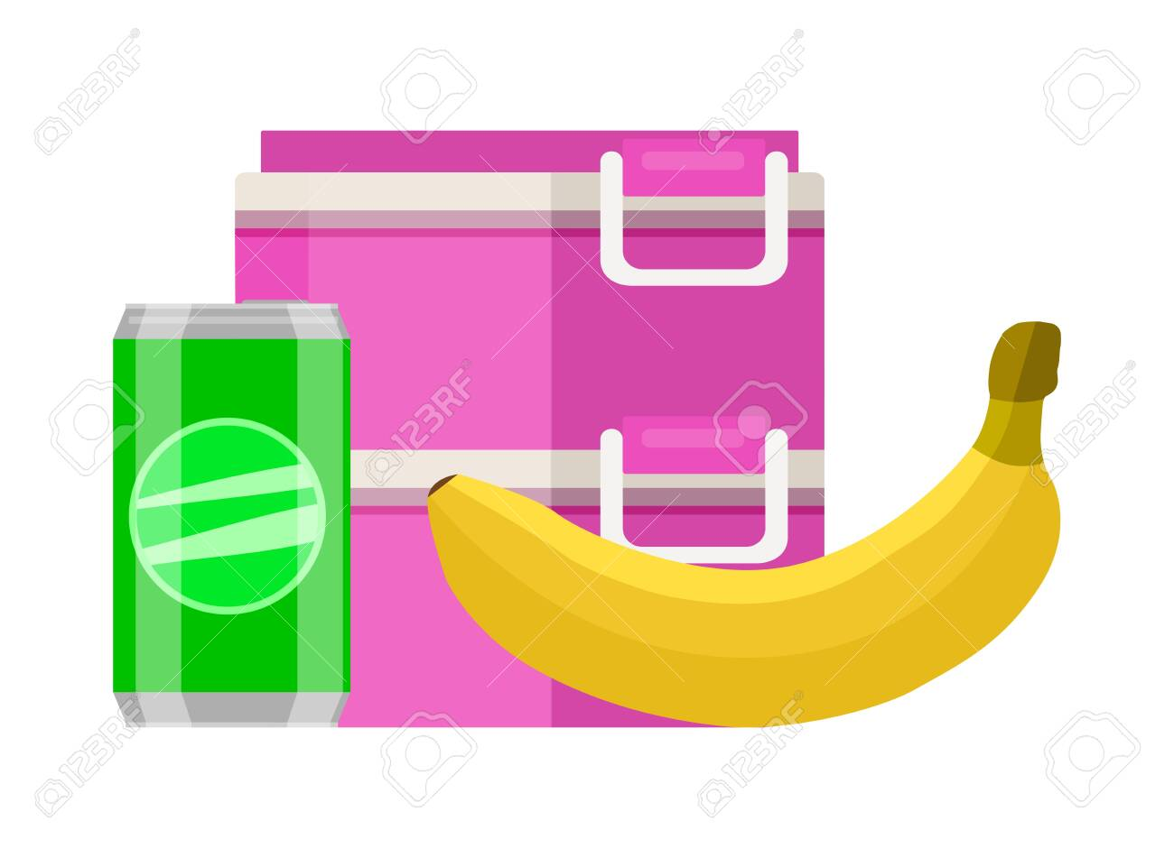 Lunchbox school snack. Pink two tier food container lunchbox yellow ripe banana green soda can healthy fresh breakfast every day. Tasty vector clipart. - 147219263
