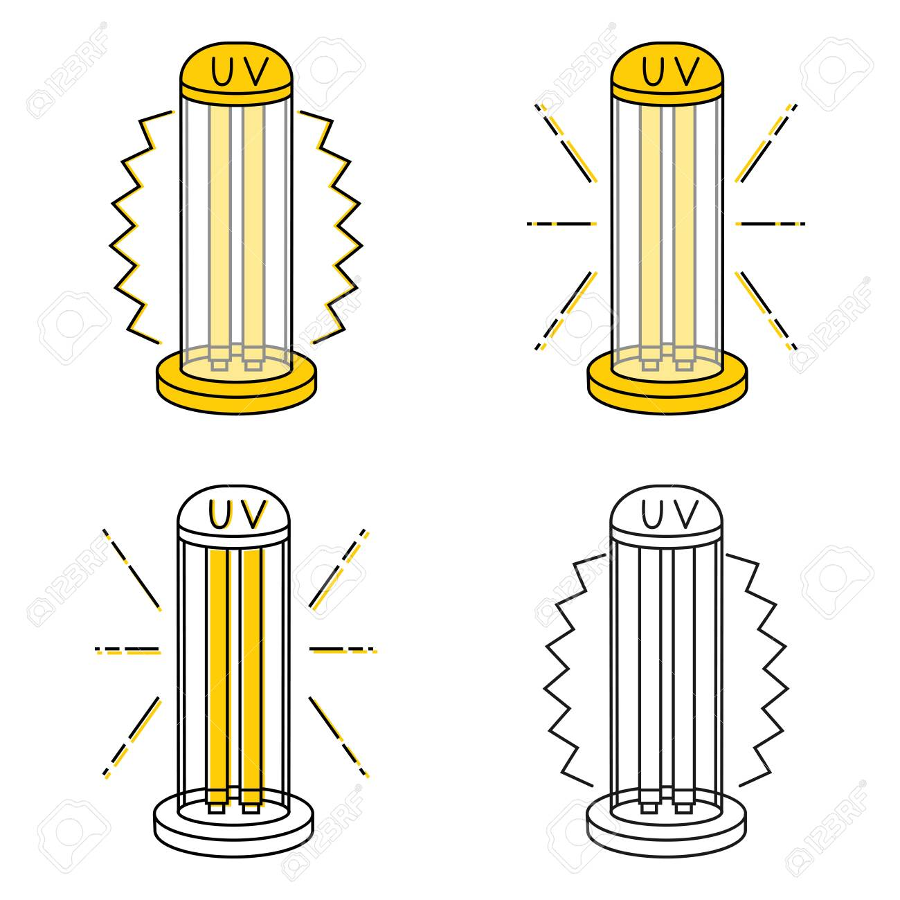 UV light disinfection lamps. Ultraviolet light sterilization of air and all surfaces. Device for disinfection of premises. Surface cleaning. Vector illustration - 157335301