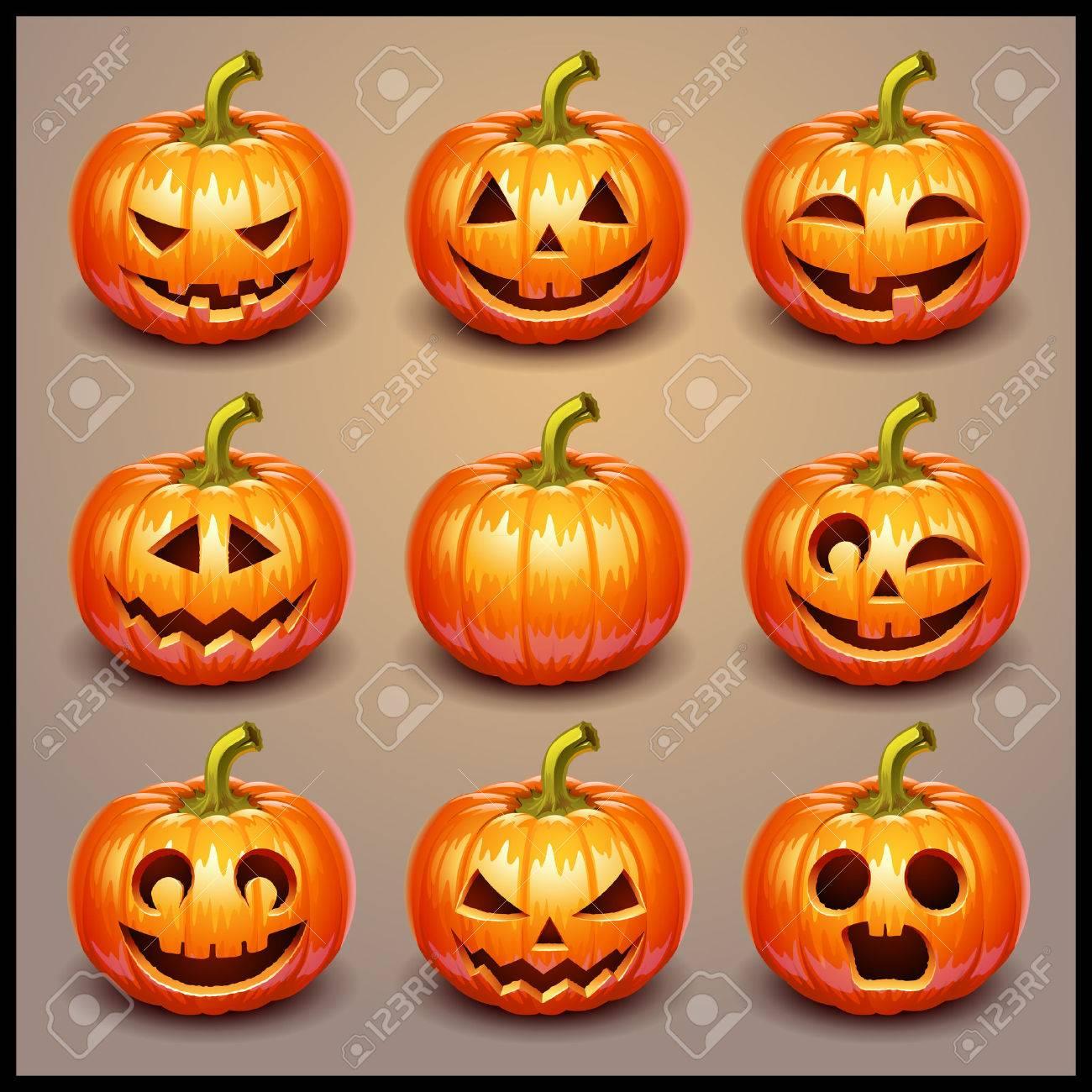 Set pumpkins for Halloween Stock Vector - 36274862