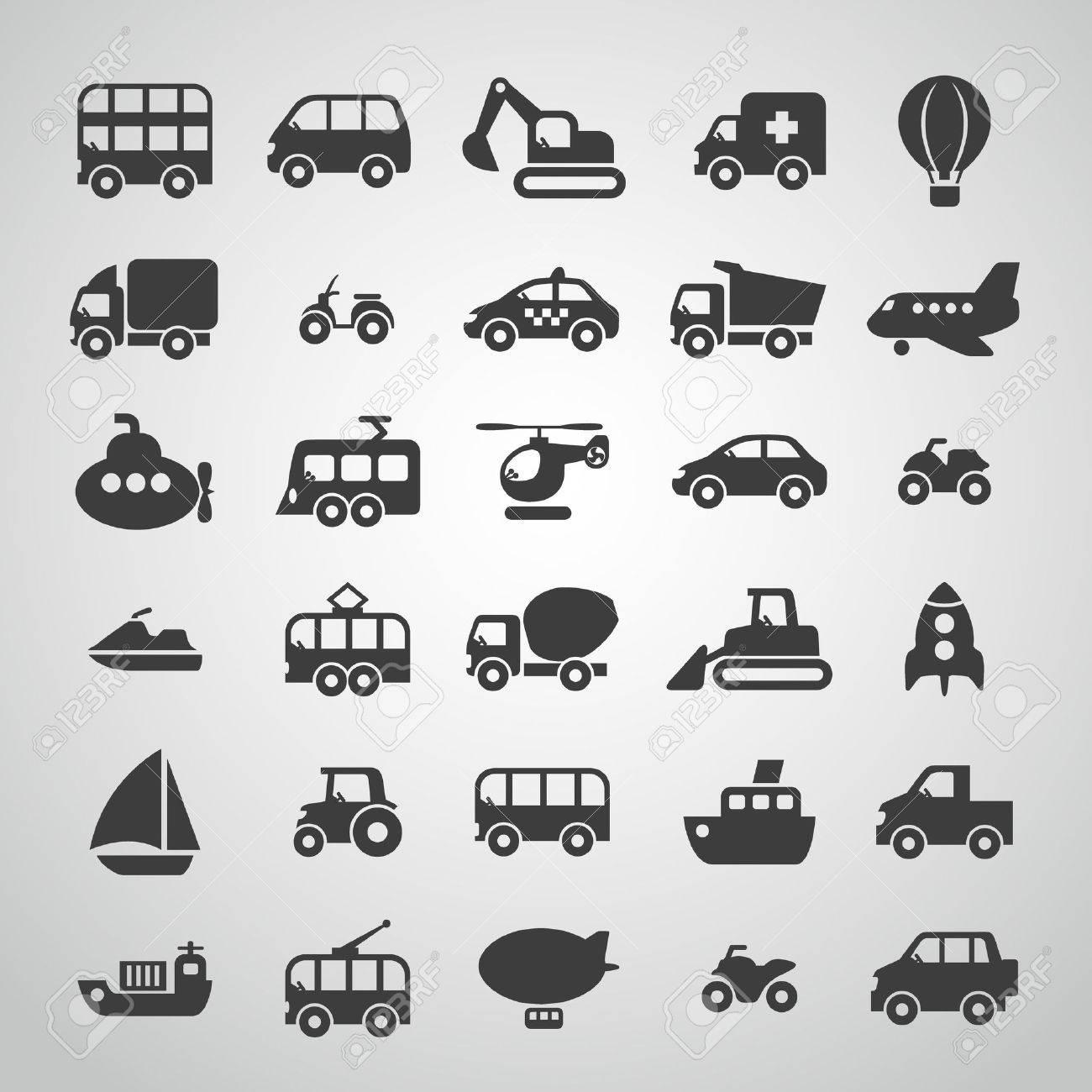 transportation icon set Stock Vector - 36275093