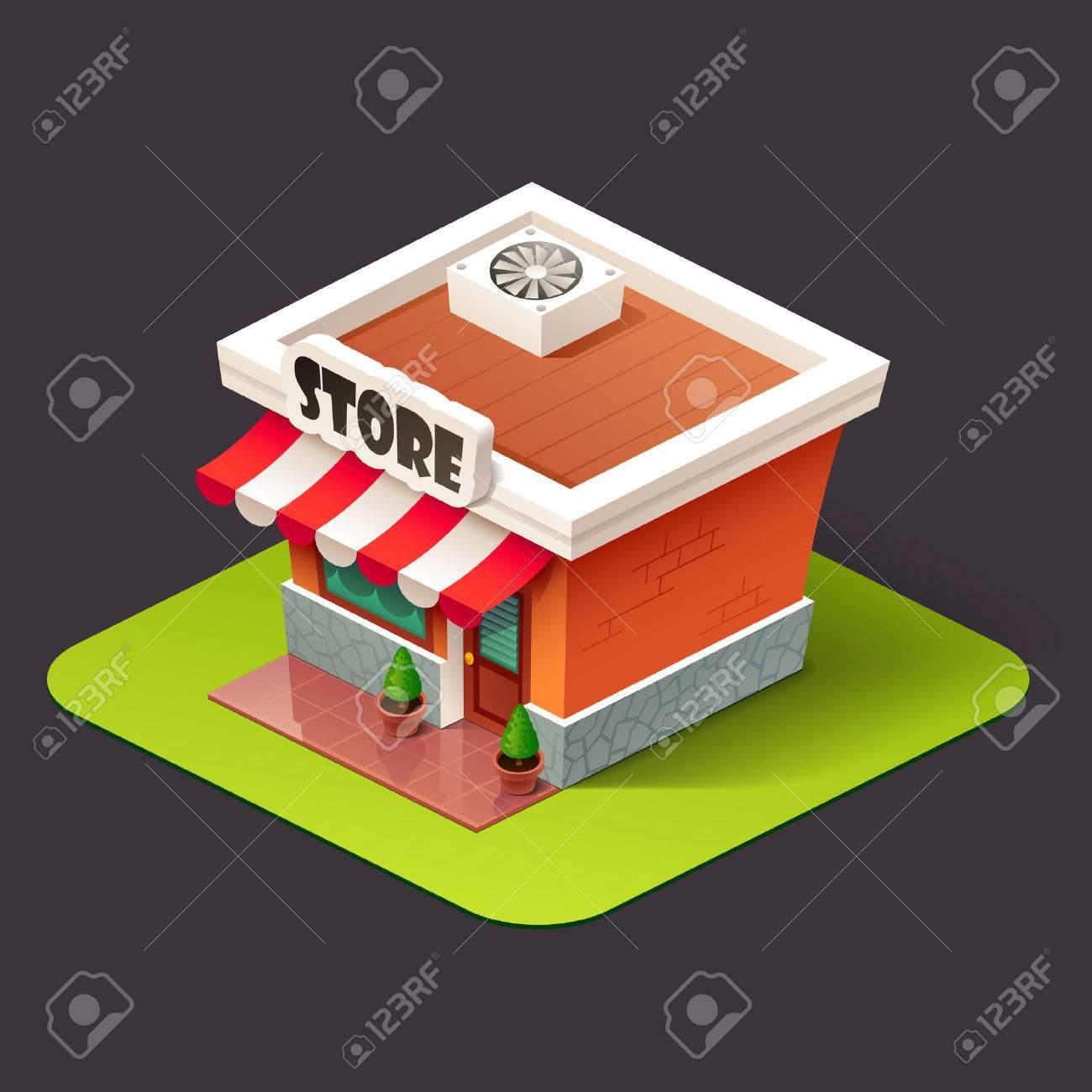Isometrischen Store-Symbol Standard-Bild - 64942748