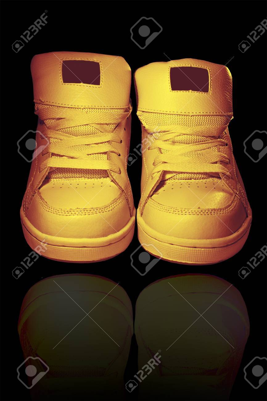 old shoes on a black background Stock Photo - 5450160