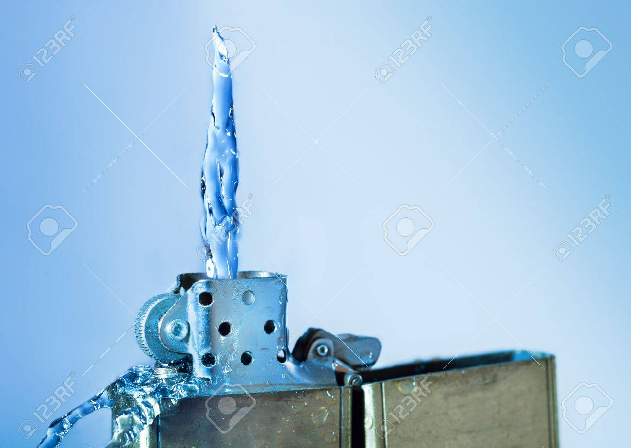 Lighter with water flame on blue background Stock Photo - 18753463