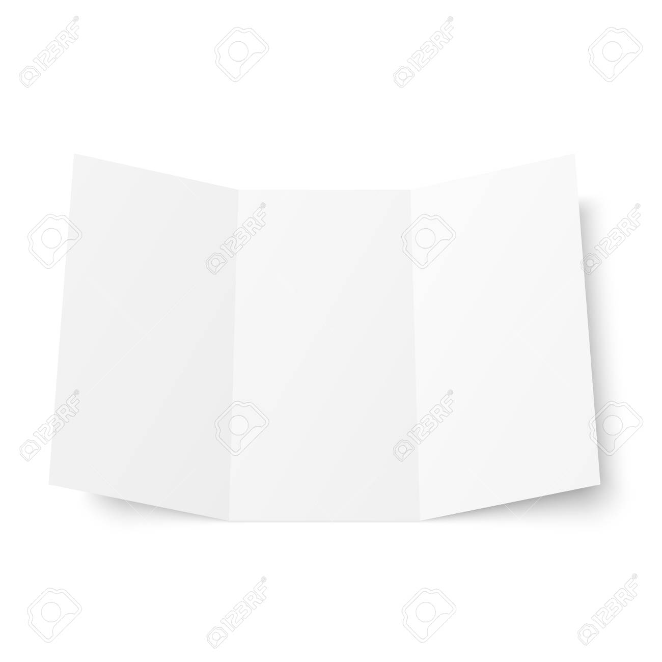 vector vector blank white trifold booklet opened on white background front side tri folded paper sheet in a4 mock up of empty cover or flyer isolated