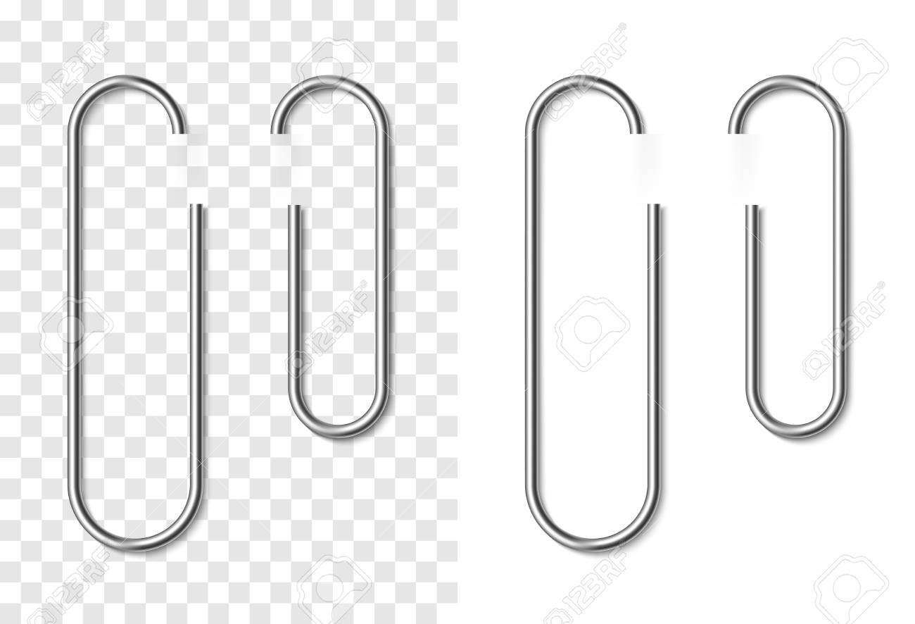 set of silver metallic realistic paper clip on white and transparent