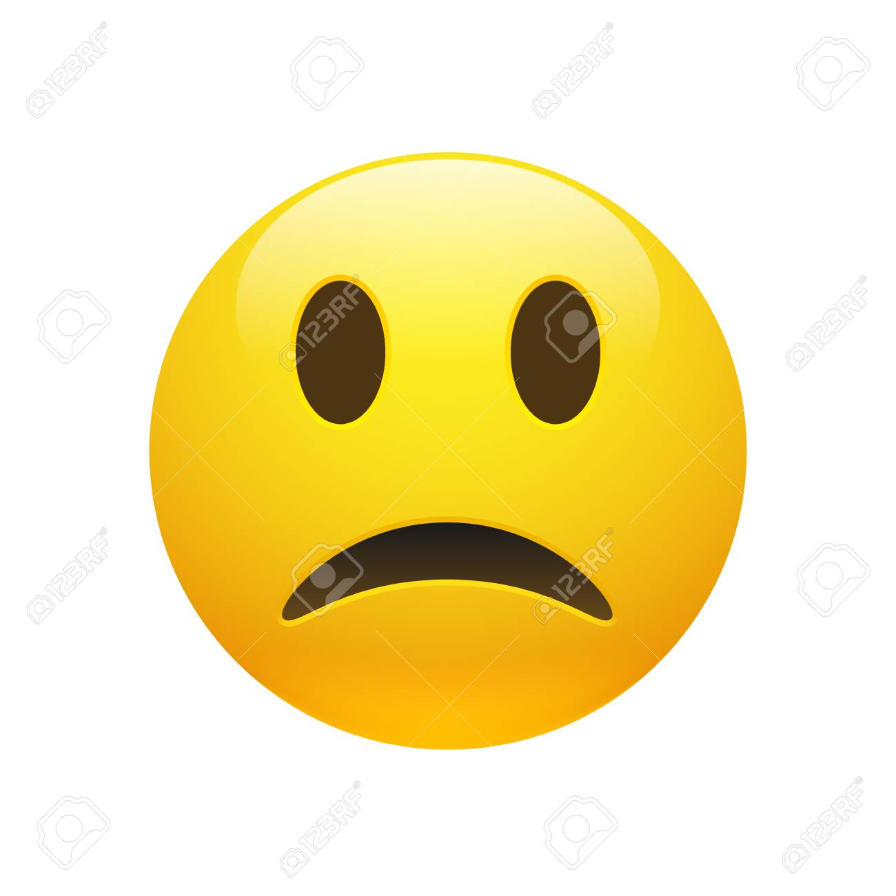 Vector - Vector Emoji yellow sad face with eyes and mouth on white background. Funny cartoon Emoji icon. 3D illustration for chat or message.
