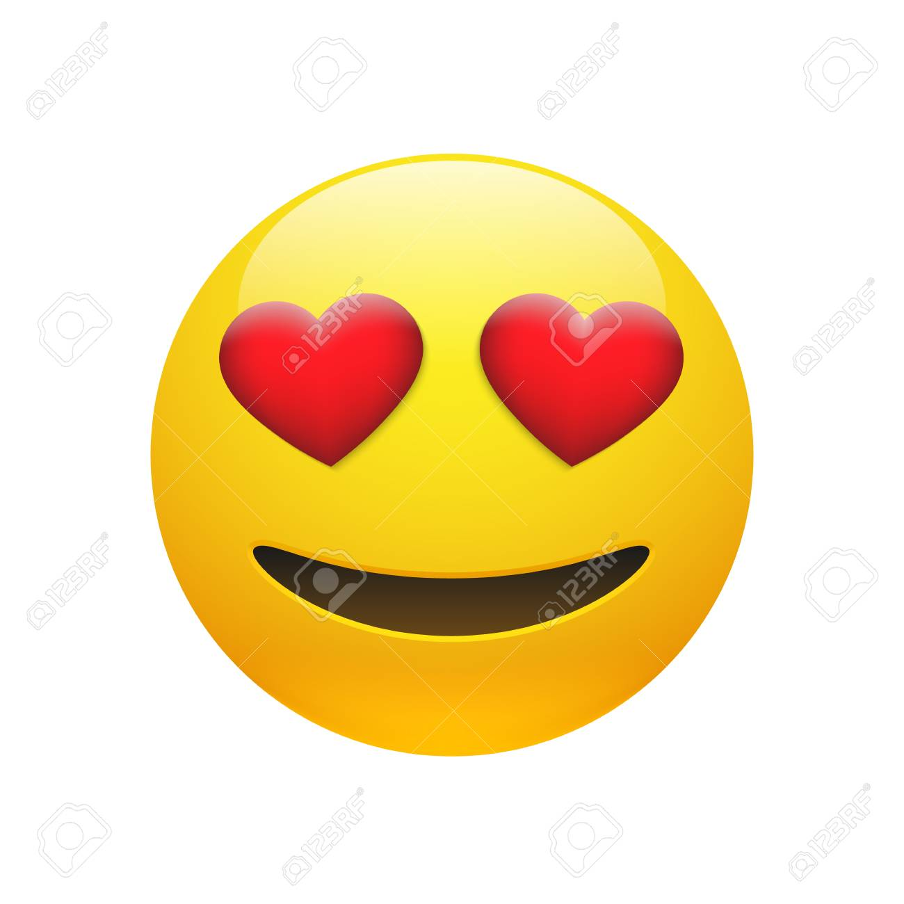 Emoji vector yellow stupid smiley face with red heart eyes and mouth on white background