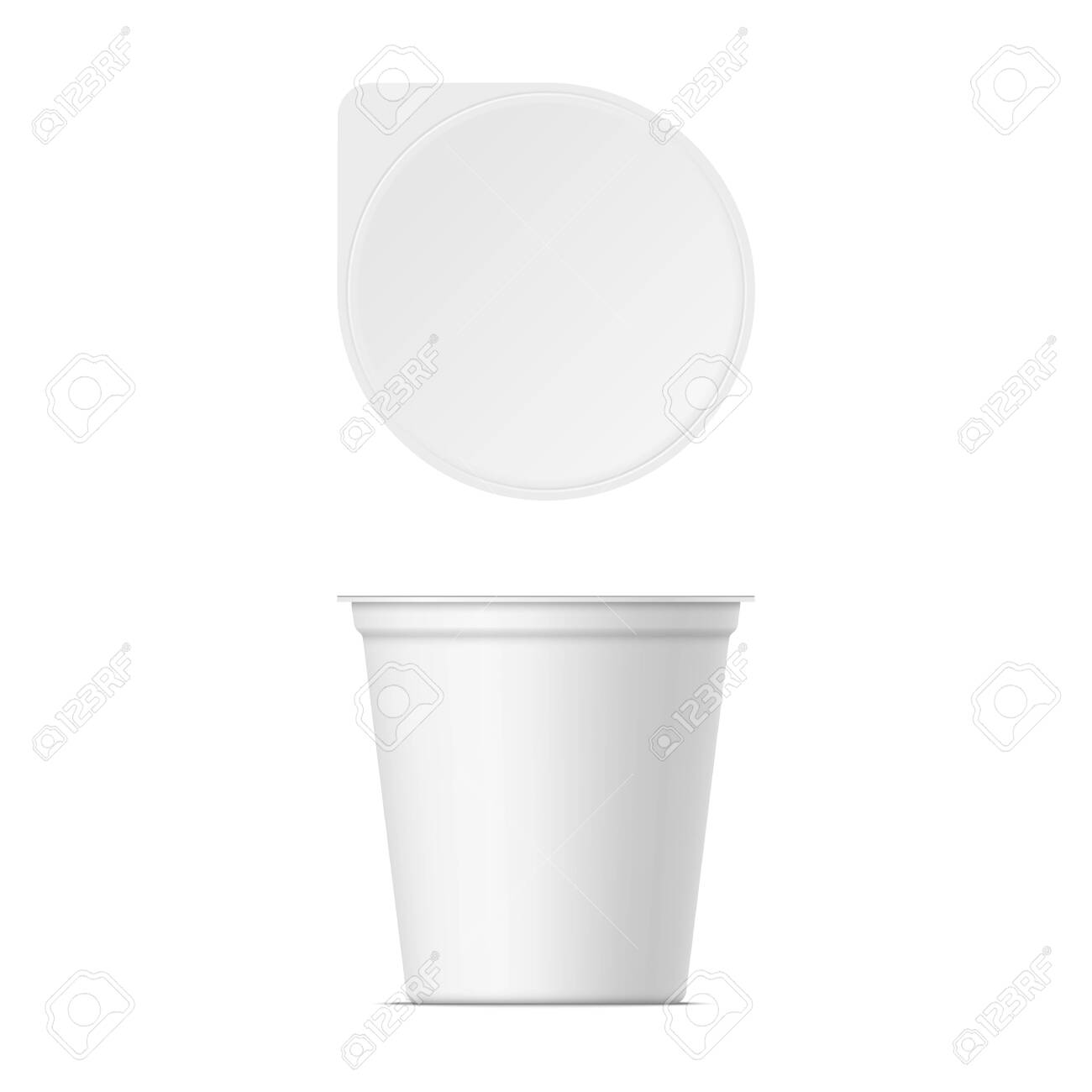 Mockup of plastic yogurt container with lid isolated on white background. Vector realistic yoghurt, ice cream or sour creme package. 3D illustration. Template for your design. Front and top view. - 137352110