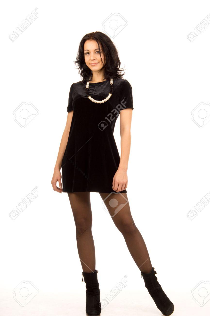 Schone Frau Mit Einer Sexy Figur Tragt Einen Eleganten Schwarzen