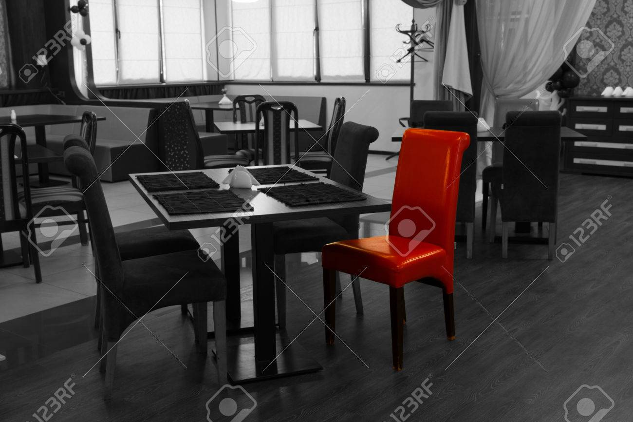 Single Red Chair In A Greyscale Nightclub Interior With Selective Stock Photo Picture And Royalty Free Image Image 33306028
