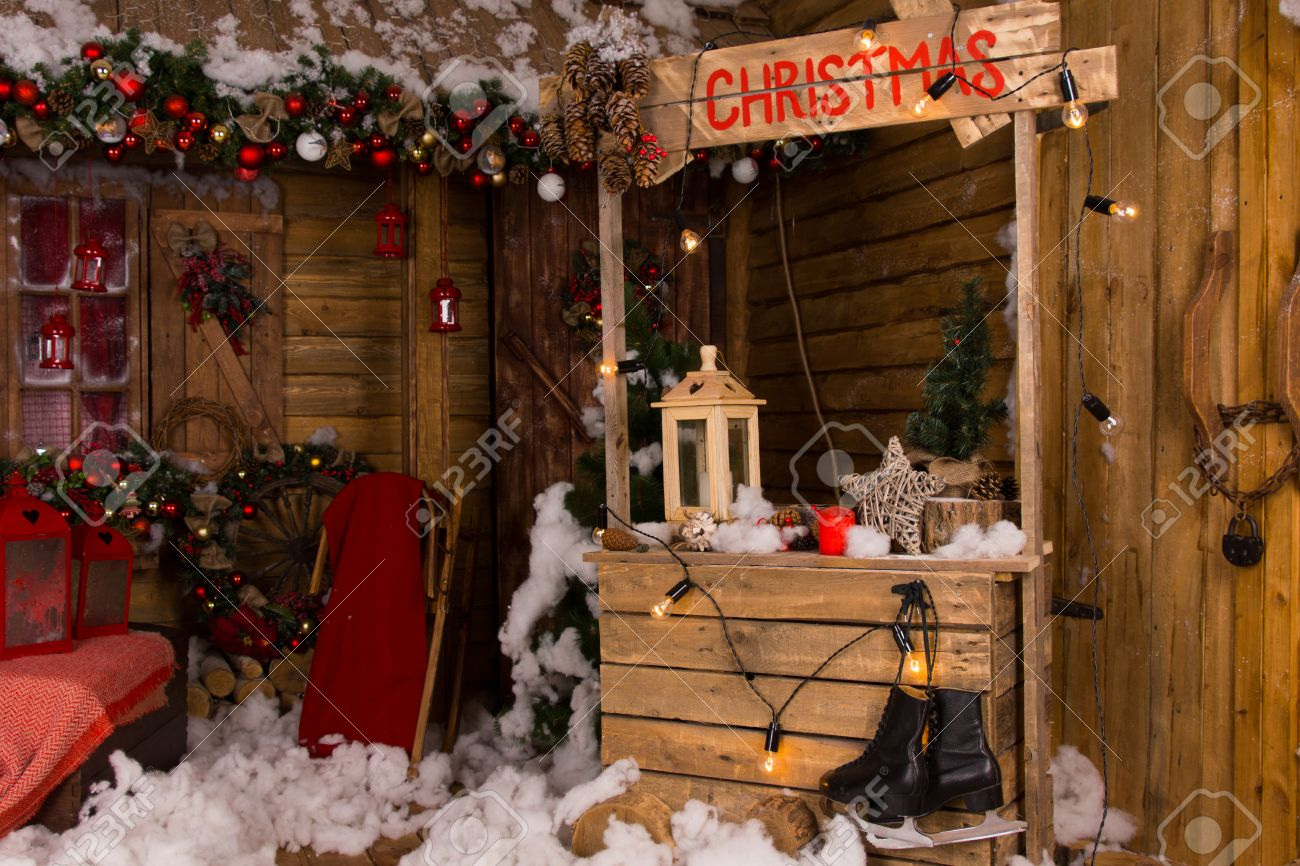 Wooden houseChristmas decoration