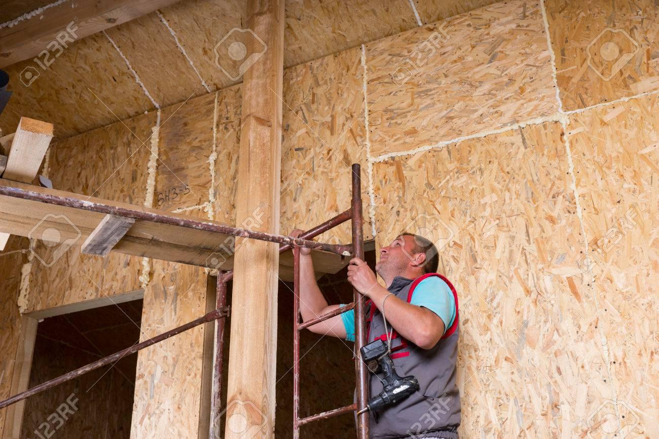 Taladro Hombre Trabajador De Construcción Constructor Holding ...