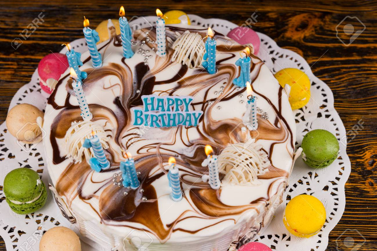 Magnificent Top View On Homemade Birthday Cake With Lots Of Burning Candles Funny Birthday Cards Online Alyptdamsfinfo