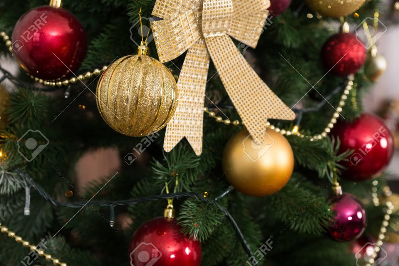 Christmas Decorations Garlands.Beautiful Christmas Decorations Balls And Garlands Hanging On
