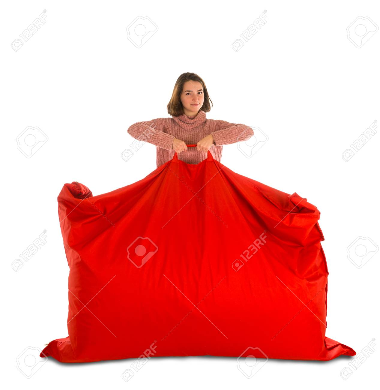 Cool Young Woman Standing And Holding Red Rectangular Shaped Beanbag Ocoug Best Dining Table And Chair Ideas Images Ocougorg