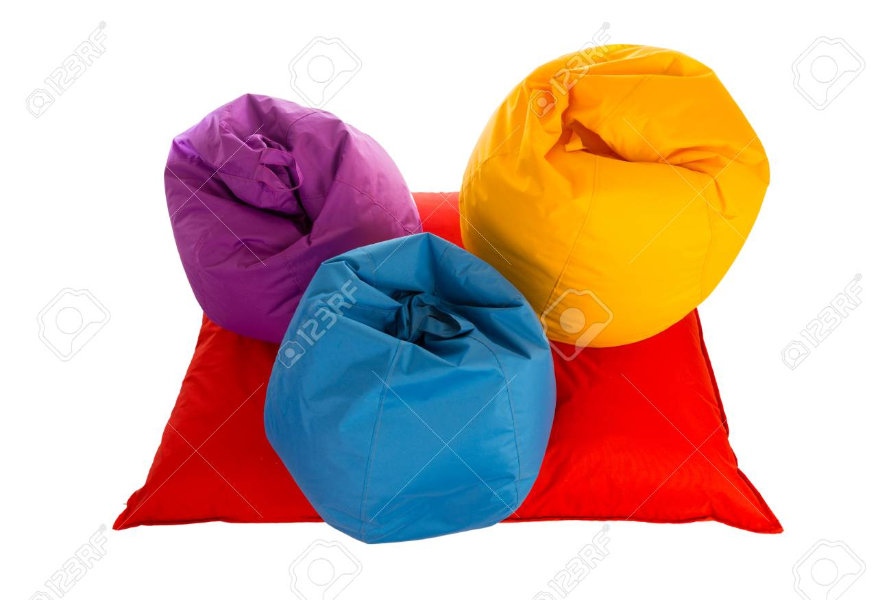 Admirable Top View On Purple Blue And Yellow Beanbag Chairs On Red Beanbag Andrewgaddart Wooden Chair Designs For Living Room Andrewgaddartcom
