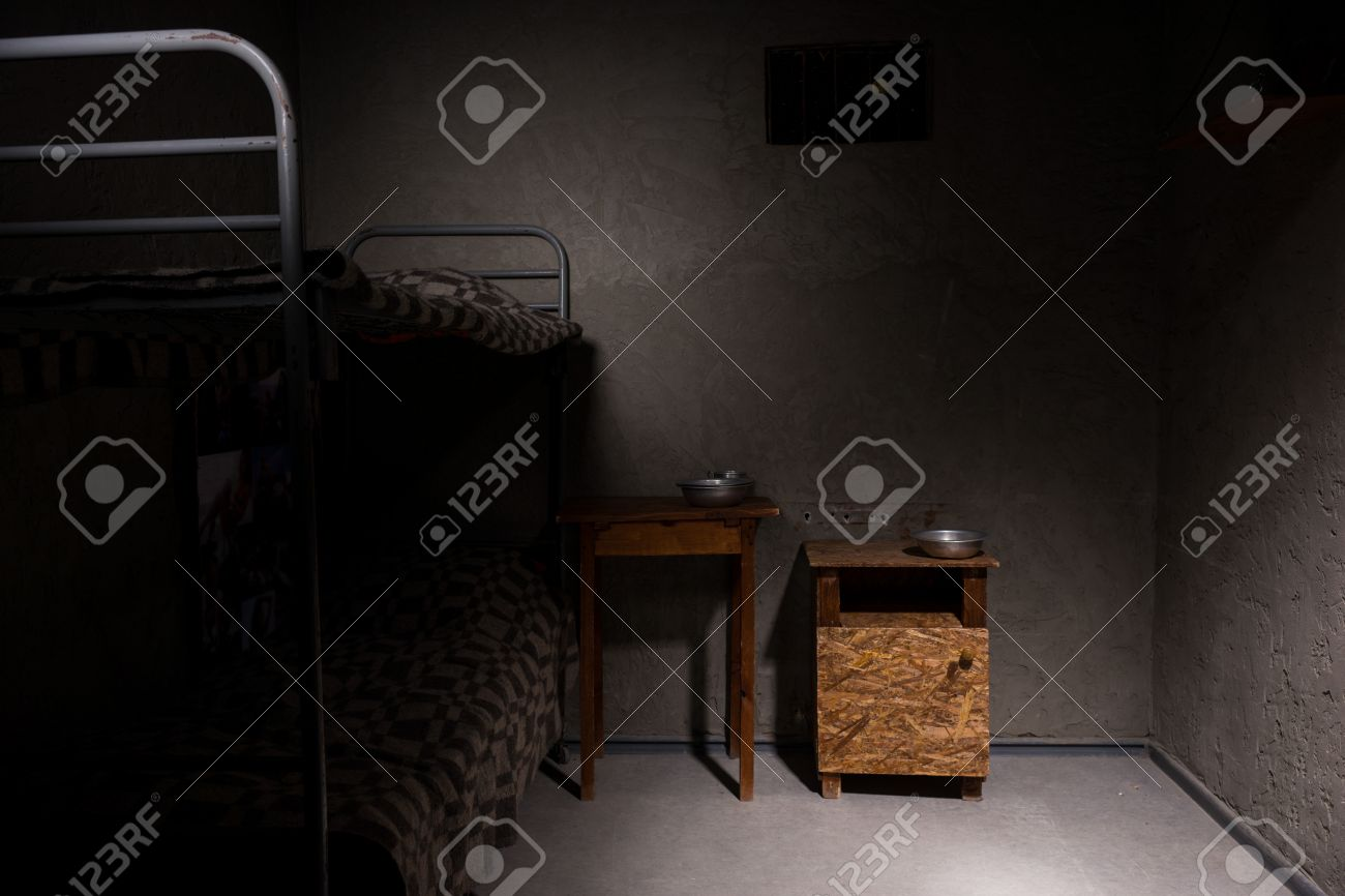 An Empty Prison Cell With Bunk Bed And Bedside Table With Aluminum Stock Photo Picture And Royalty Free Image Image 78269826