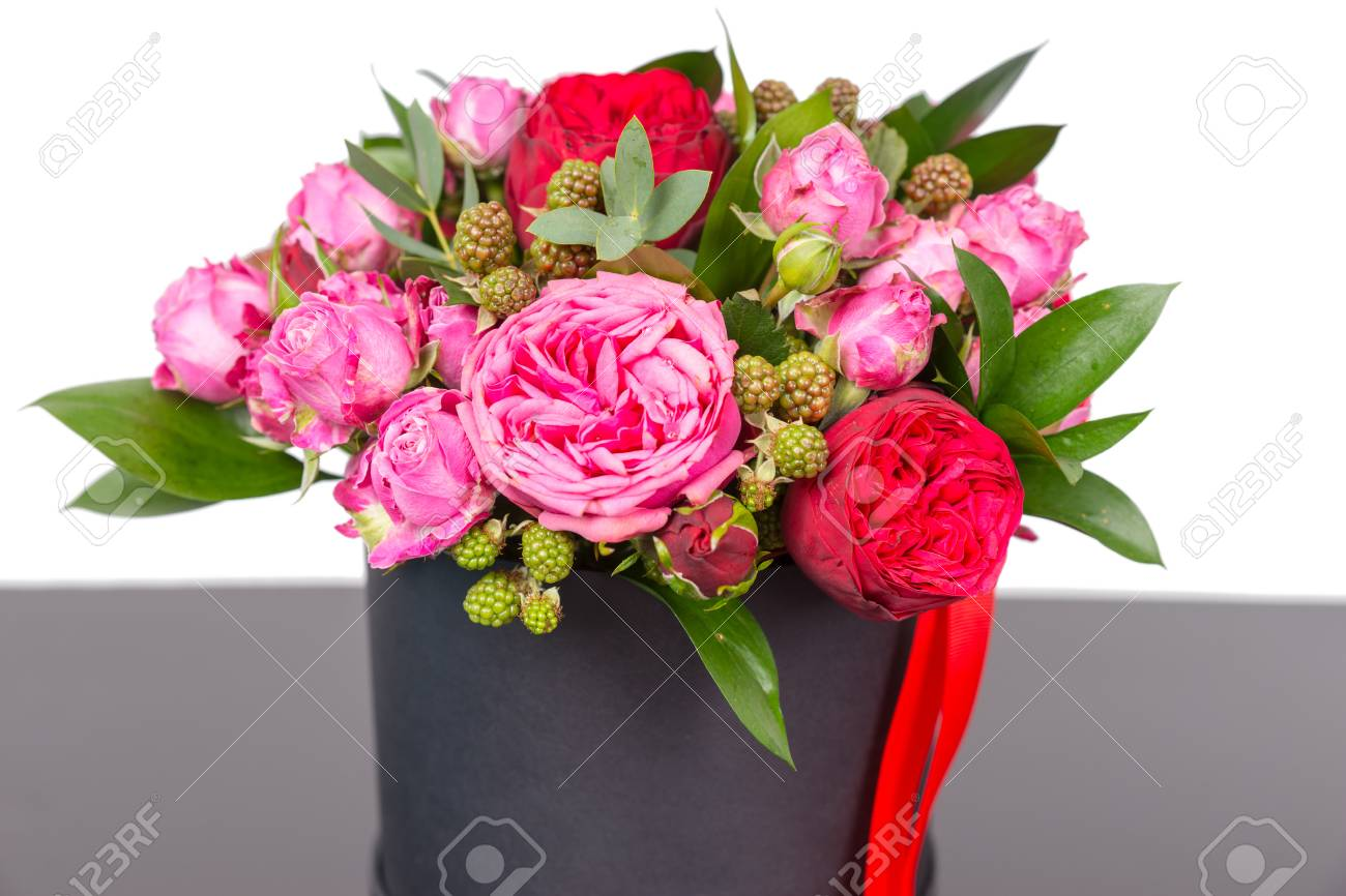 Incredible bouquet of pink roses and red ribbon in a concept stock incredible bouquet of pink roses and red ribbon in a concept of love romance izmirmasajfo