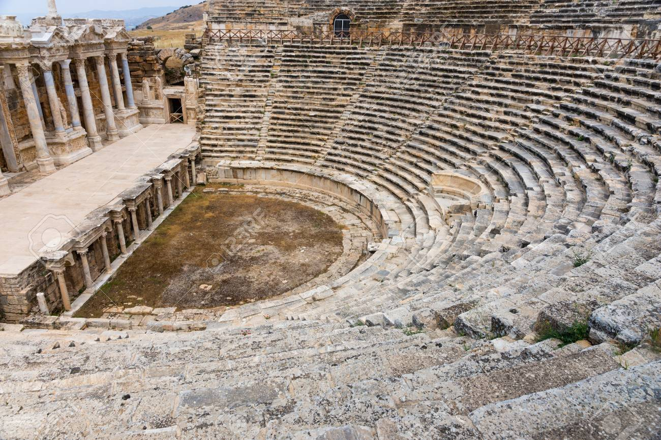 Theatre And Greek Amphitheatre At Hierapolis At The Hot Springs ...