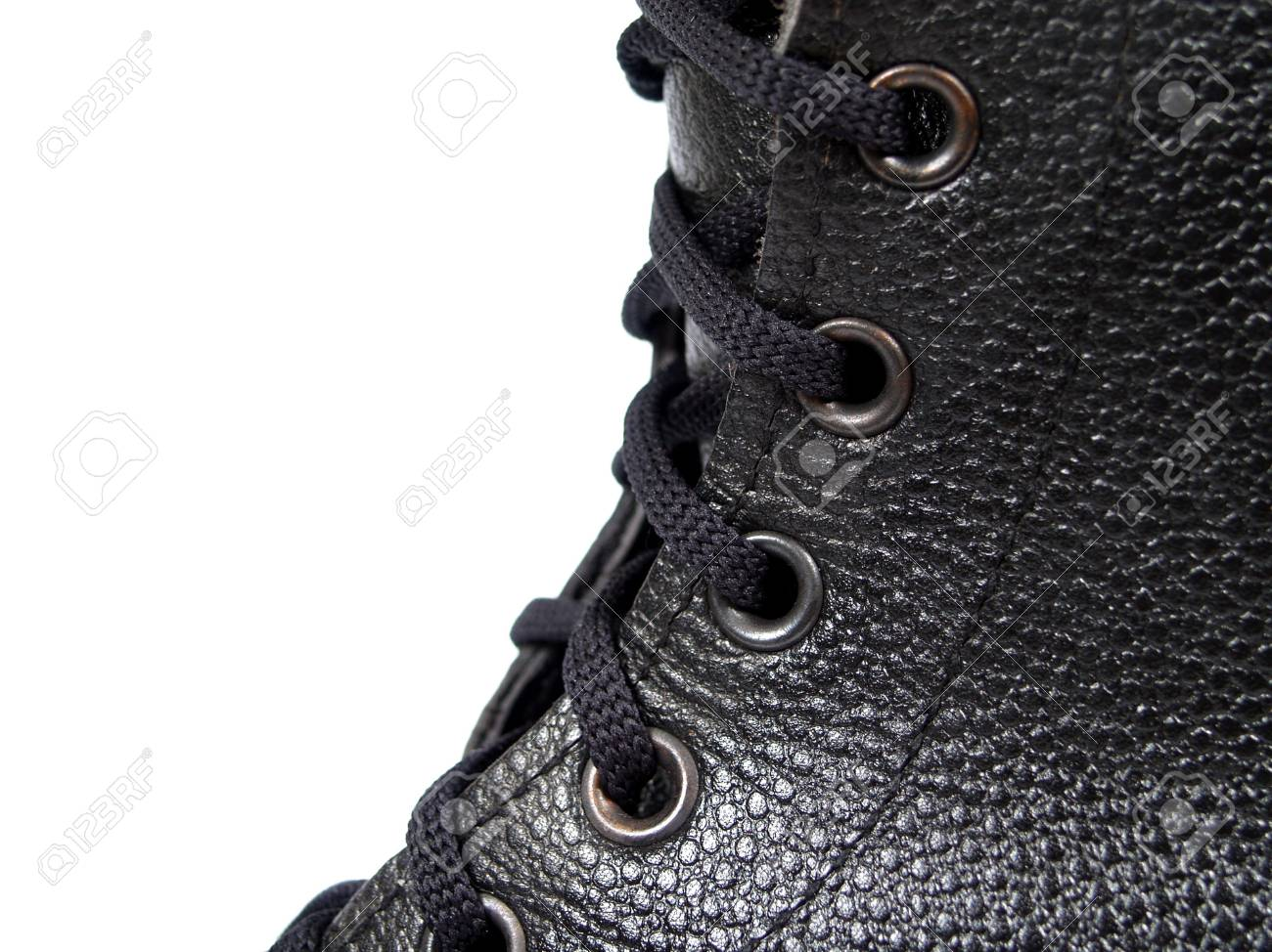 clasp black army footwear on white background Stock Photo - 8946936