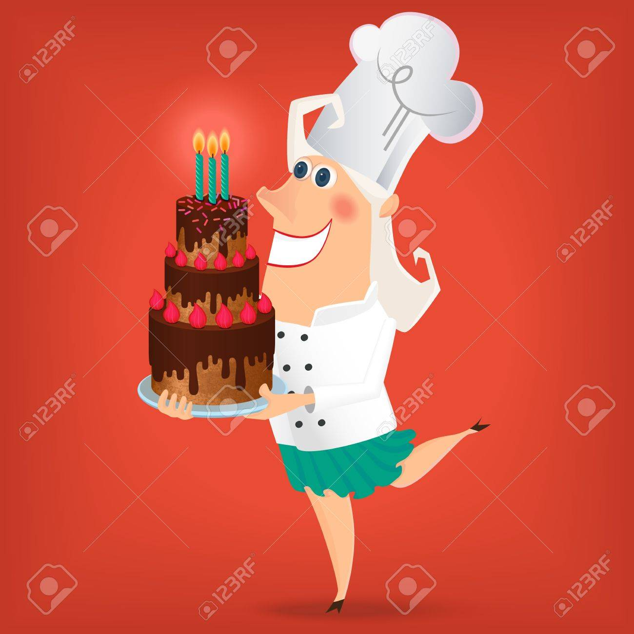 Outstanding Cartoon Lady Chef Holding A Plate With Very Big Birthday Cake Birthday Cards Printable Benkemecafe Filternl