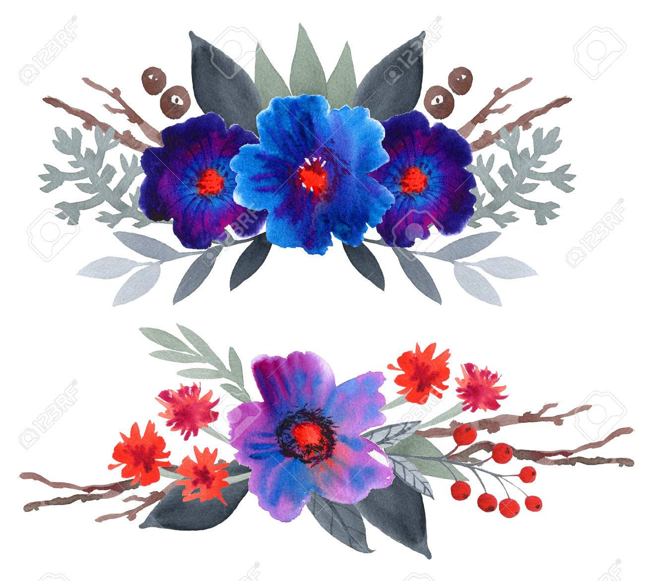 Watercolor Floral Set. Colorful Blue And Purple Floral Collection ...