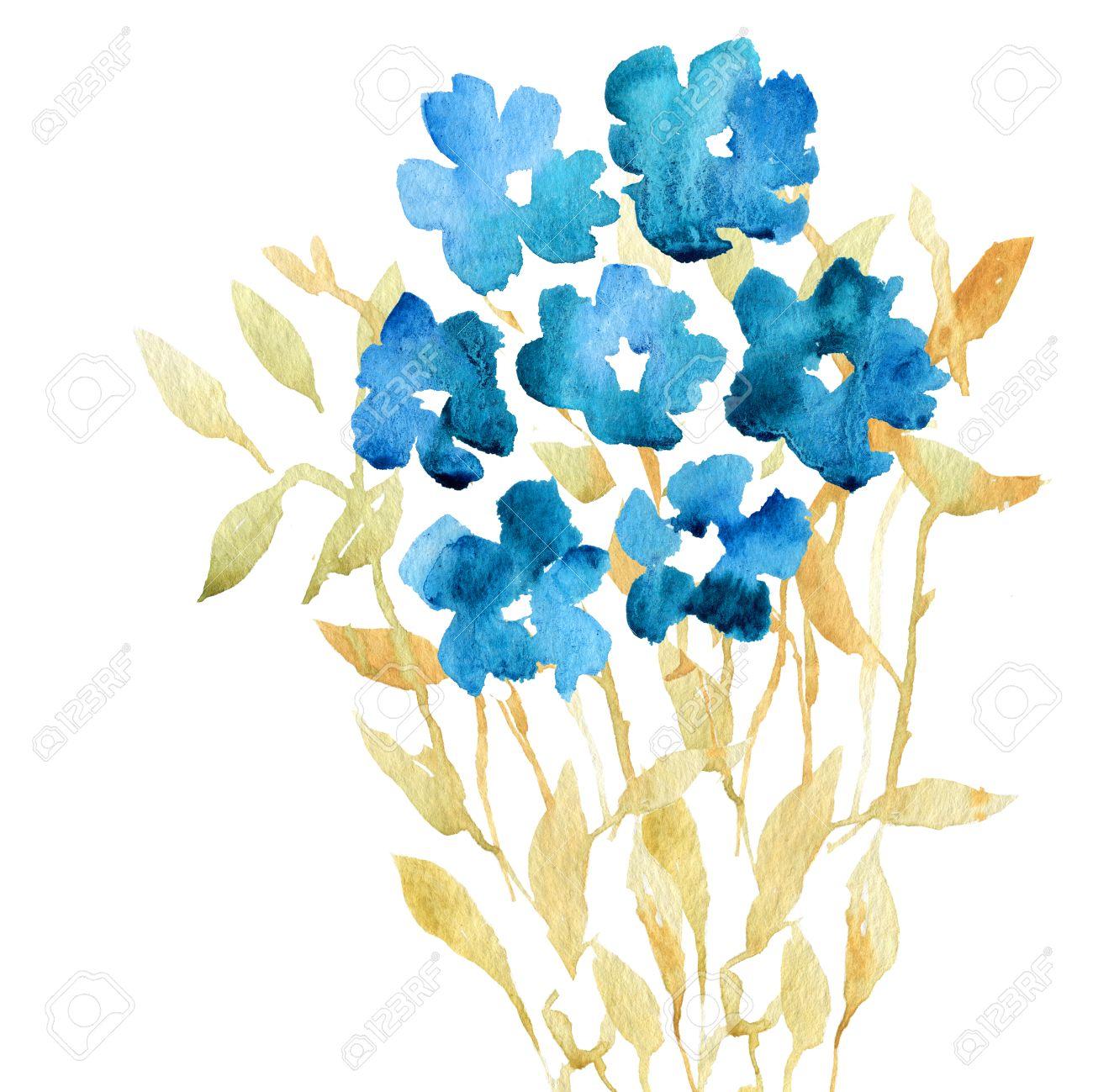 Conjunto Floral De La Acuarela Colorido Azul Y Ocre Coleccion Con