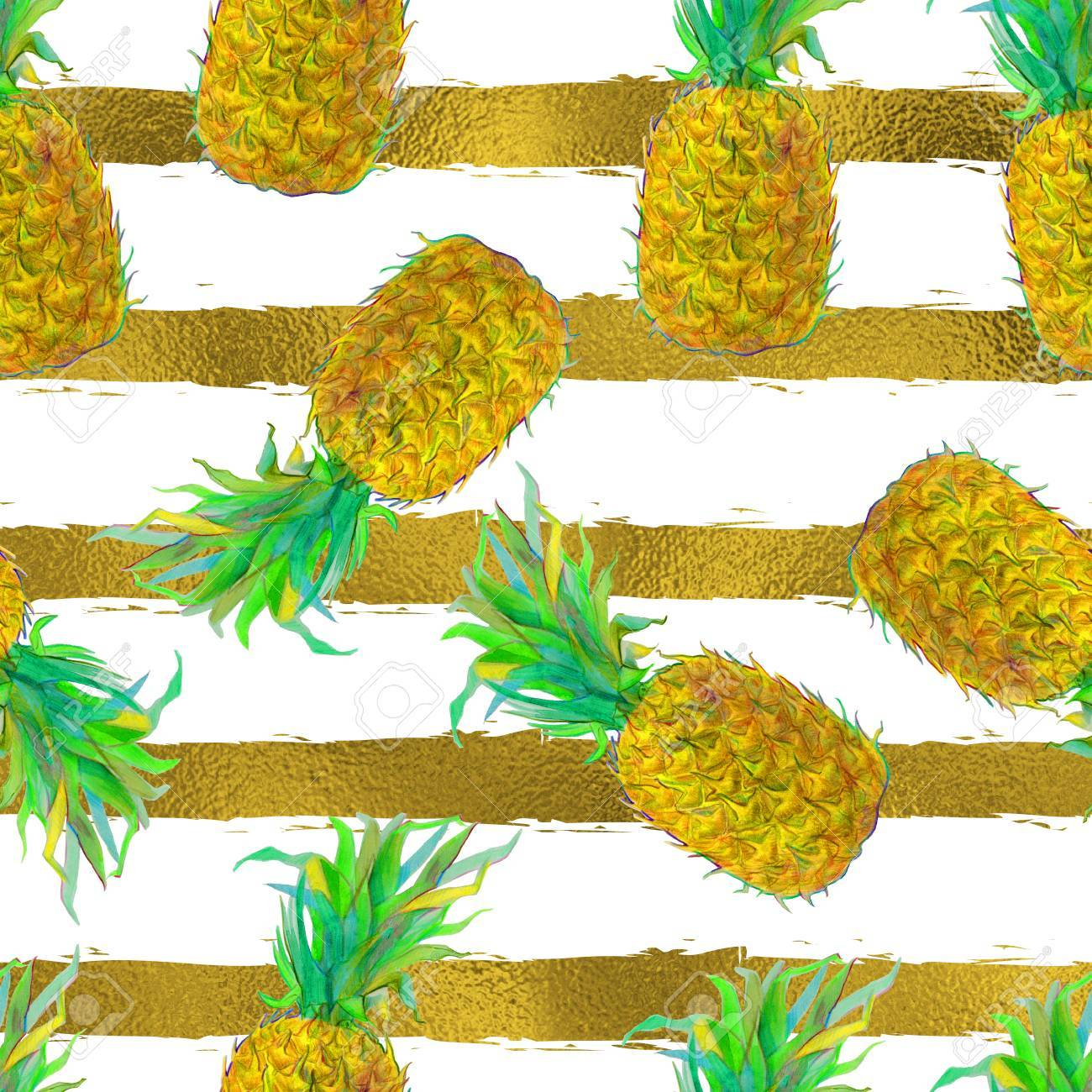 58431422 seamless pattern with hand drawn pineapple fruit exotic tropical pattern for wallpaper textile backg