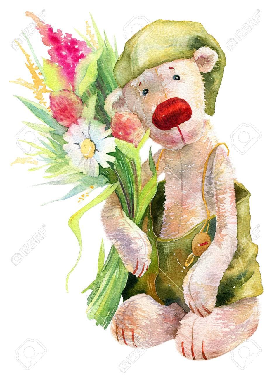 Cute watercolor teddy bear with flowers kid birthday card or cute watercolor teddy bear with flowers kid birthday card or other design background stock photo izmirmasajfo