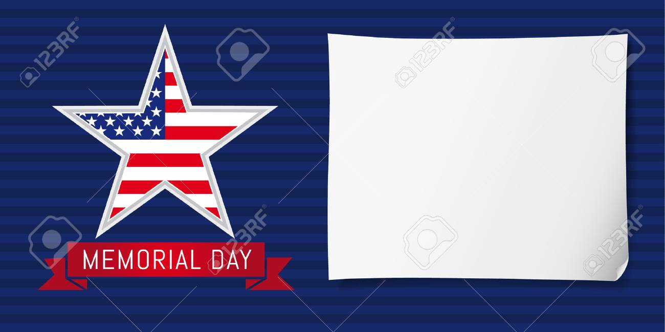 happy memorial day background template with star in national