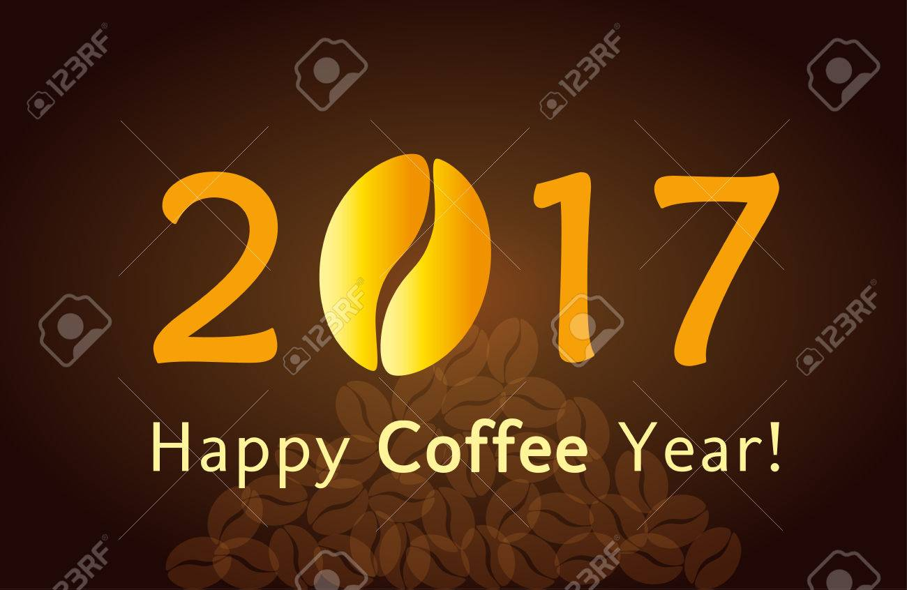 2017 Happy New Year Christmas Card With Coffee Bean For Cafes