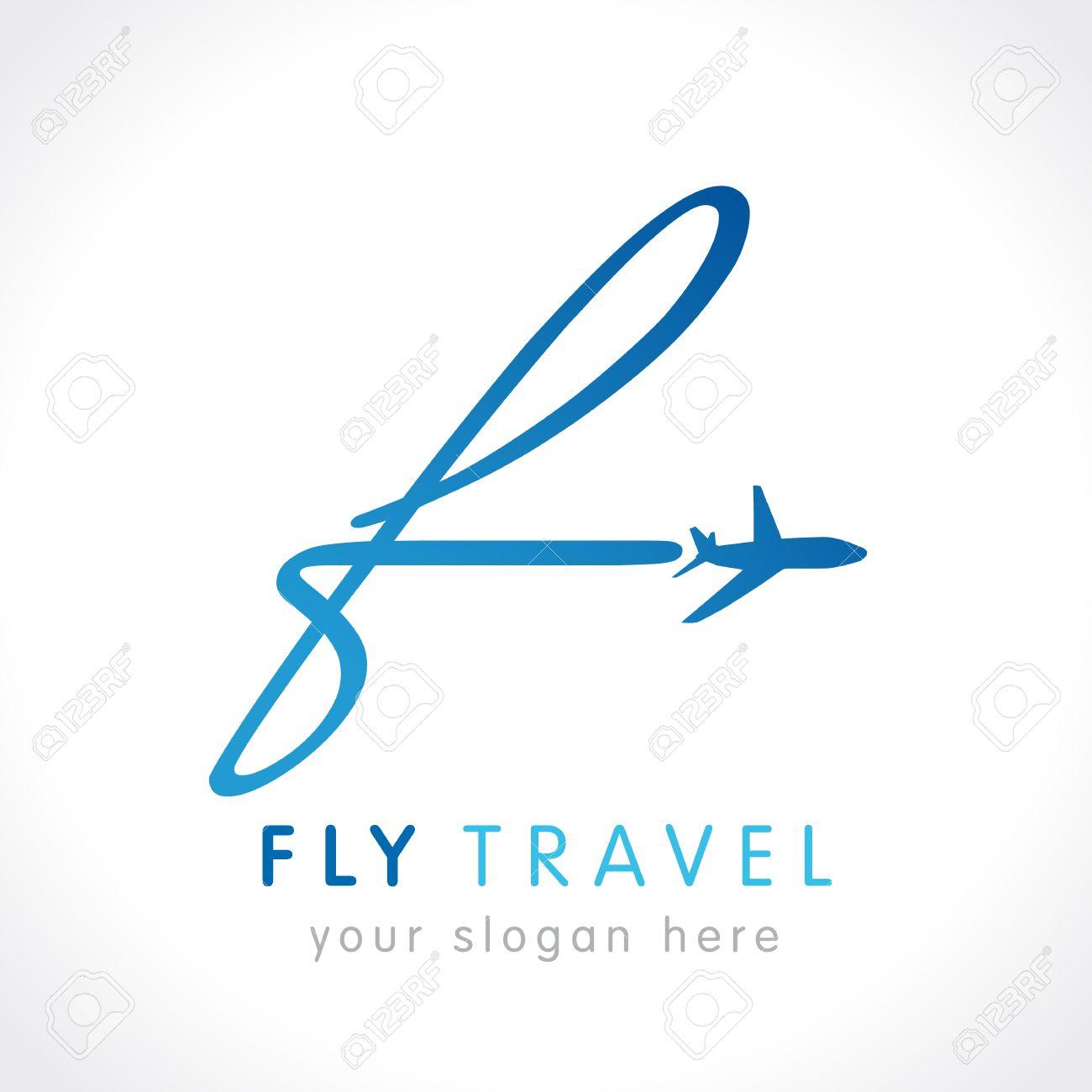 f フライ旅行会社のロゴ 航空会社のビジネス旅行 文字 f ロゴの