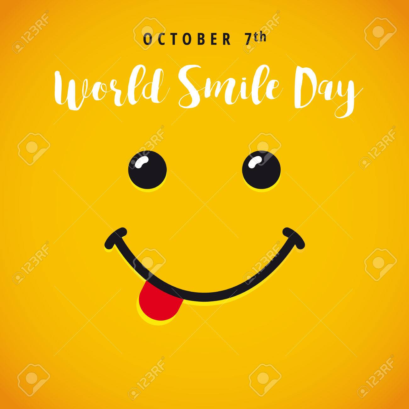 World Smile Day banner. Smile with tongue and lettering World Smile Day on yellow background - 63373231