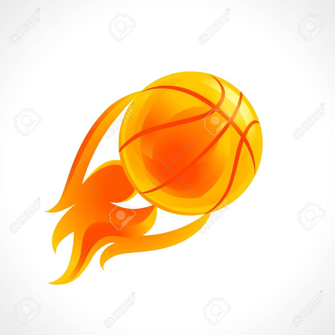 fc746356f9ba0 Basketball flame logo. Ball with fire sport team sign.
