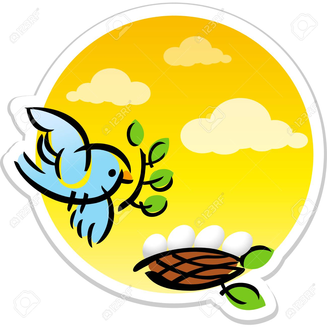 Animated Mother Bird And Eggs In Nest Vector Sticker Logo Or