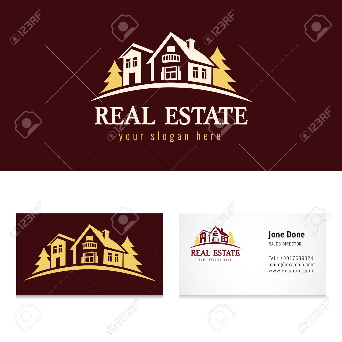 Real Estate Golden Forest Logo Template Creative Luxury Icon For Agency Building
