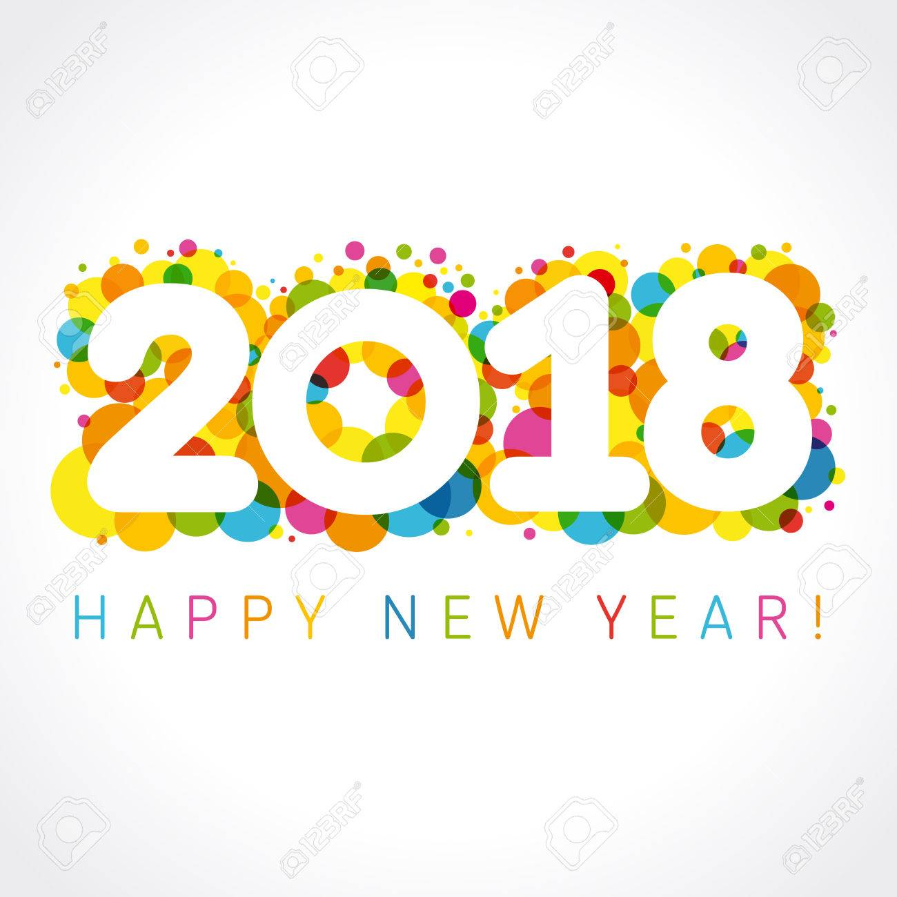 2018 happy new year colorul numbers happy holidays card with vector figures 2018 on colored