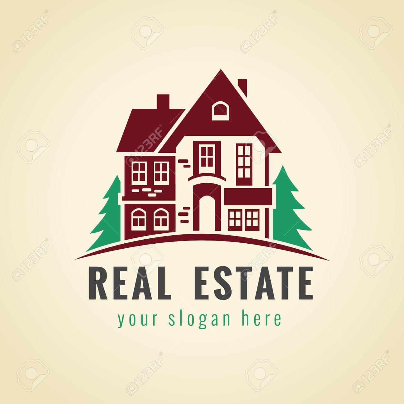 Inmobiliaria Vector Logo Bosque Casa En Venta Signo Icono Para La Agencia De Propiedad Construccion Casa De Arrendamiento Seguros Comprar Invertir O Negocio De Jardineria Casa De Campo Simbolo De La Vendimia