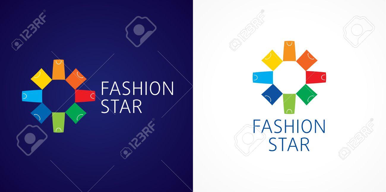 Fashion Star Branding Vector Logo Template Sign For Shopping Center