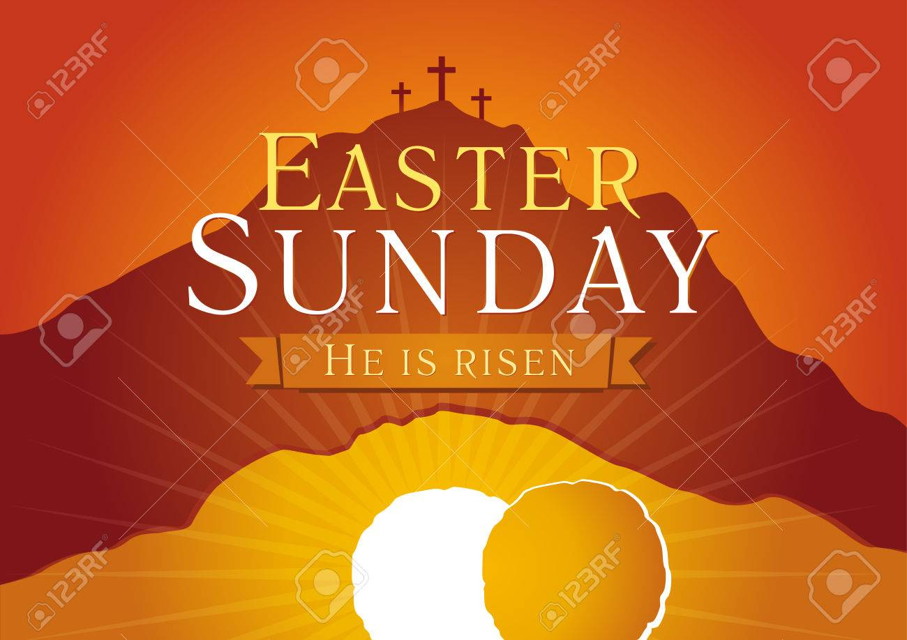Easter Sunday He Is Risen Greetings Invite Vector Card Calvary
