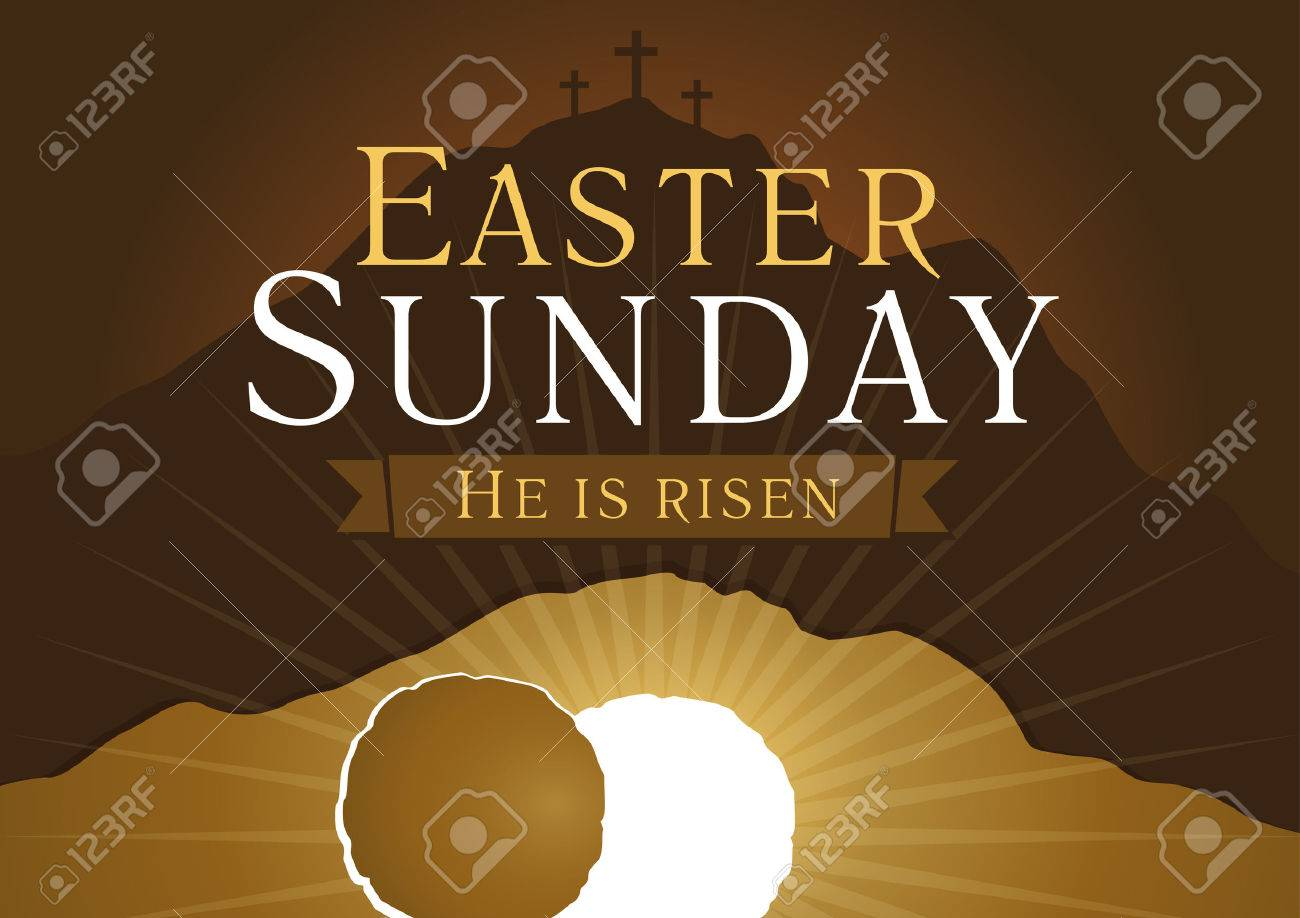Easter sunday he is risen greetings invite vector card calvary greetings invite vector card calvary sunrise with kristyandbryce Gallery