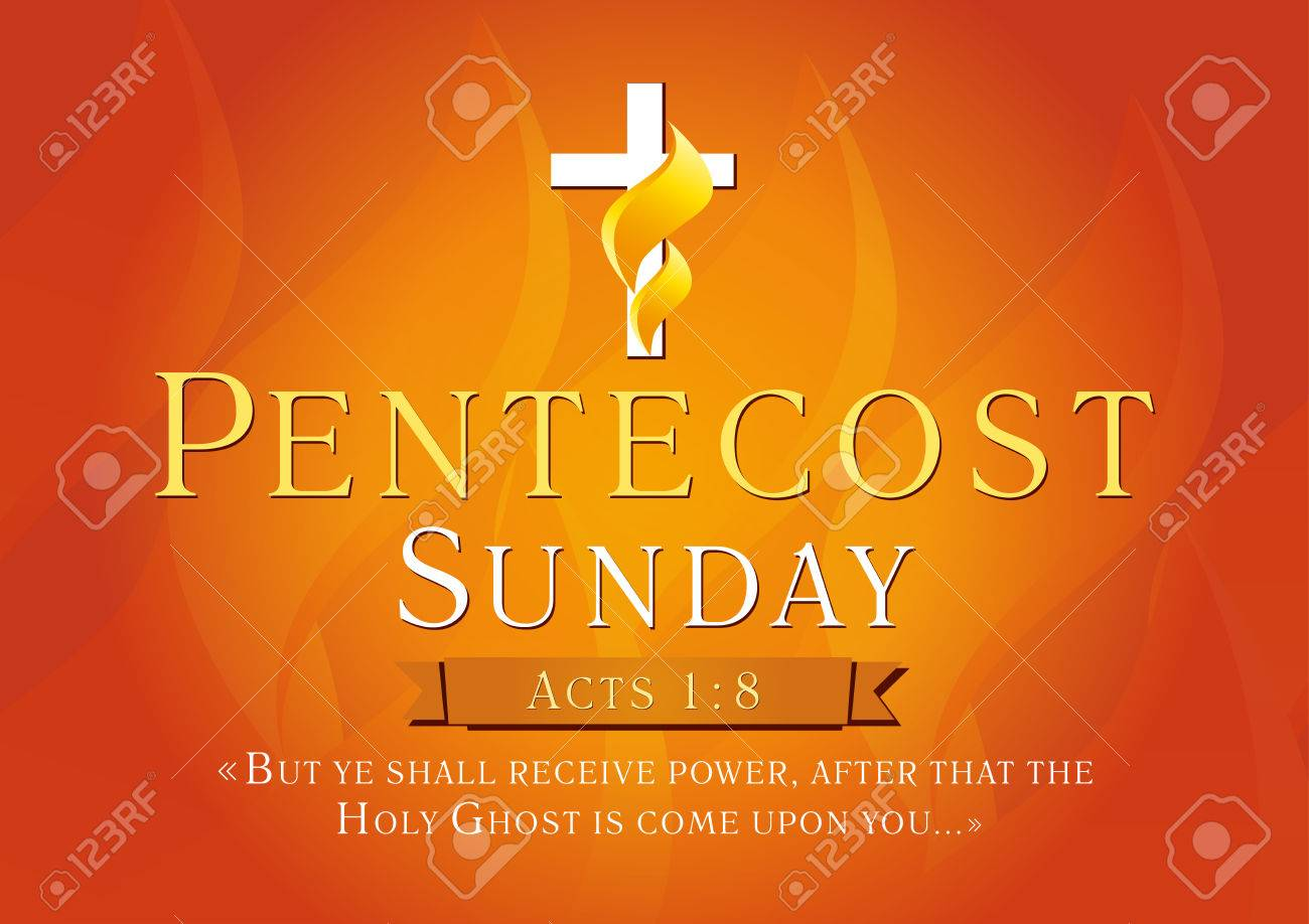 Pentecost Sunday Acts 18 Vector Greetings Invite Or Greeting