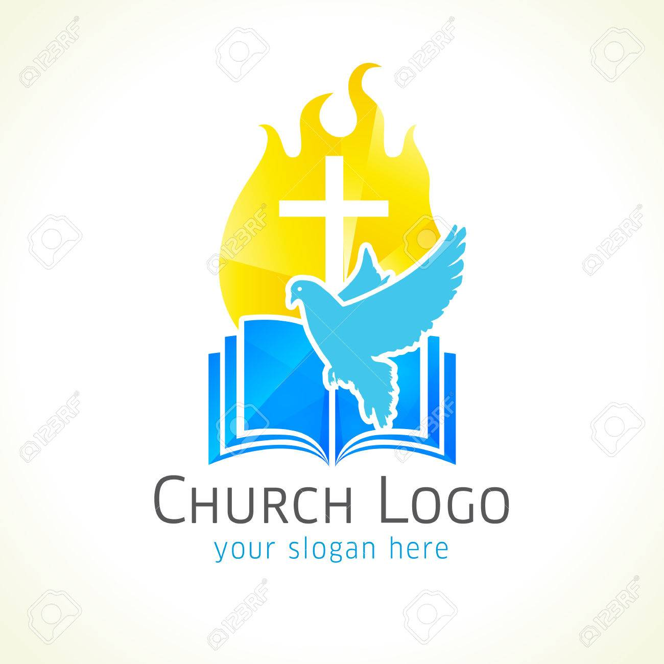 Christian church vector logo golden glowing crucifix fire dove christian church vector logo golden glowing crucifix fire dove bible fiery biocorpaavc