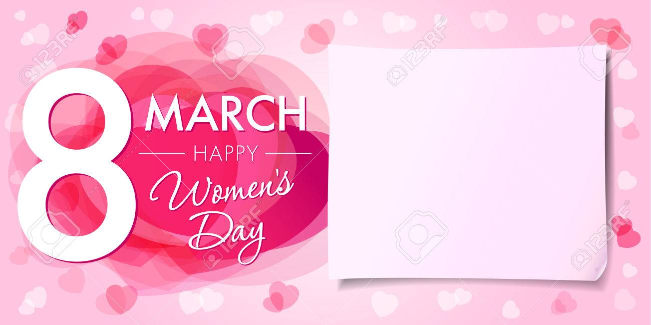 Happy Womens day 8 march banner. 8 March Women's Day greeting card template with vector pink hearts and paper on background - 71881284