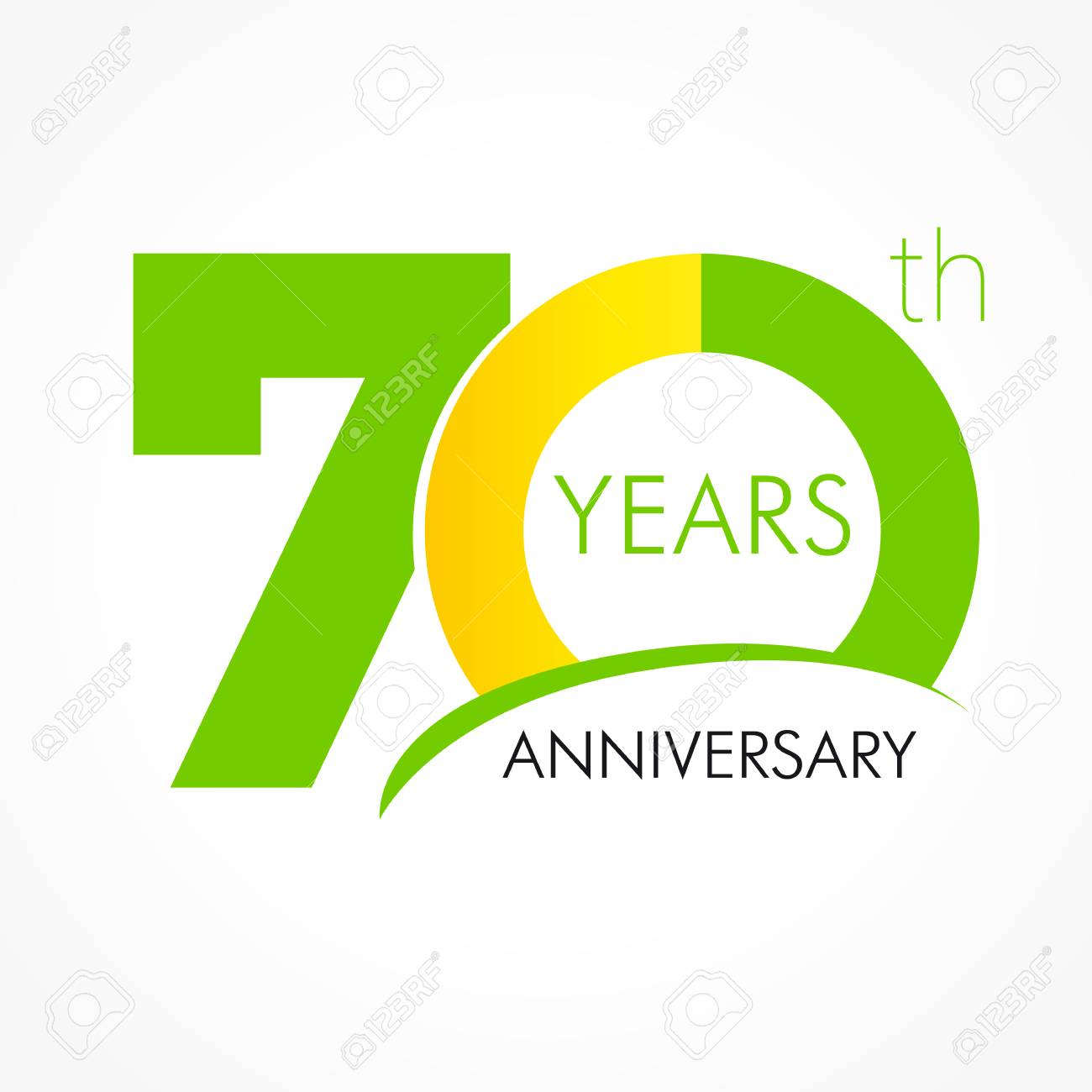 70 years old celebrating classic logo. Anniversary year of the 70 th vector template. Birthday greetings celebrates. Traditional digits of jubilee ages. Colored letter O. - 73588304