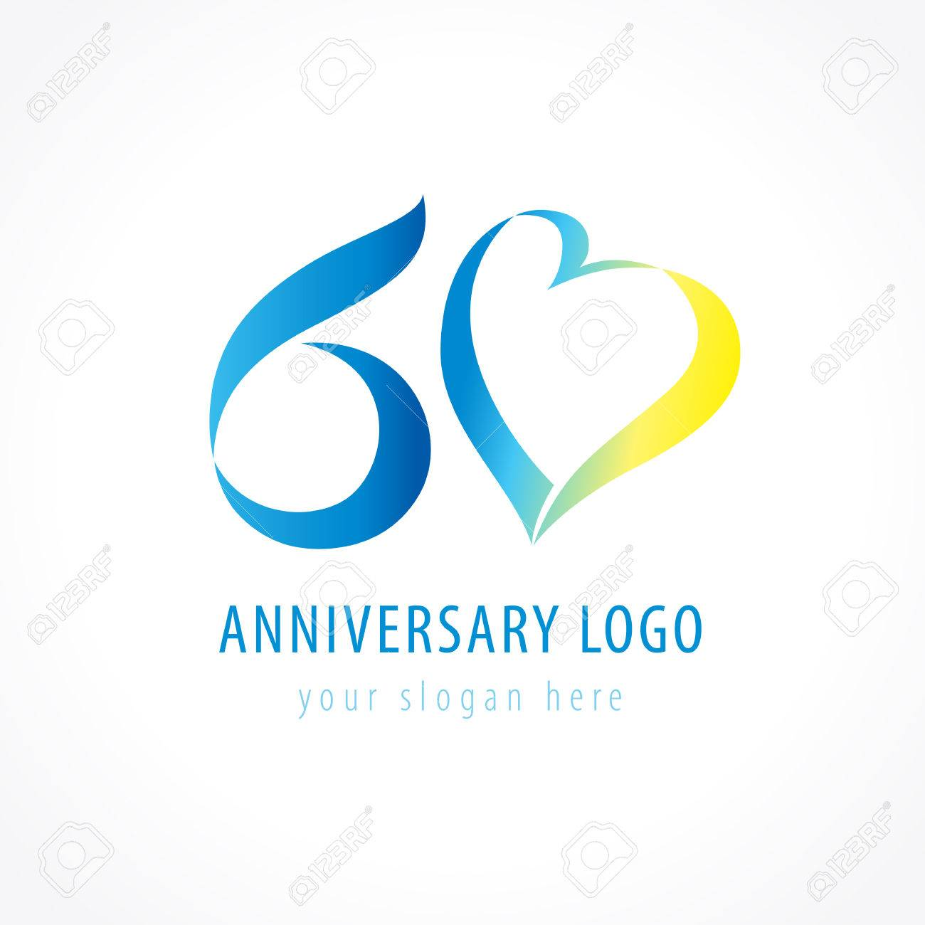 Anniversary 60 years old hearts celebrating vector digit logo. - 73957346